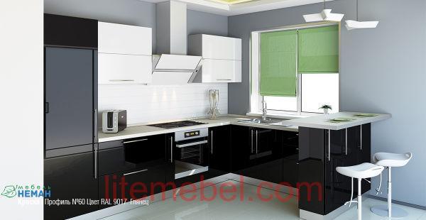 Кухня с крашенными фасадами Эмаль Профиль 60 глянец