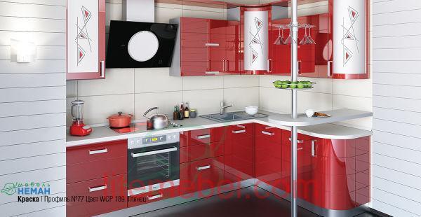 Кухня с крашенными фасадами Профиль 77 WCP 189 глянец
