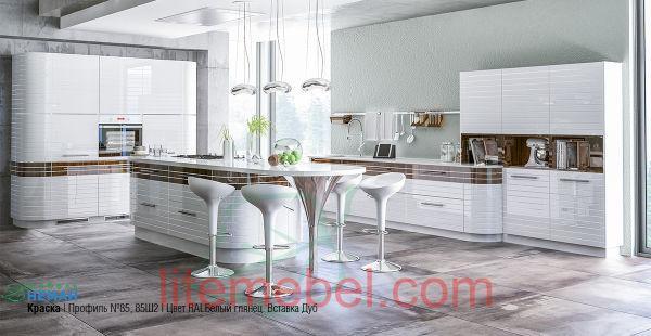 Кухня с крашенным фасадом Профиль 85, Ral 9003 глянец