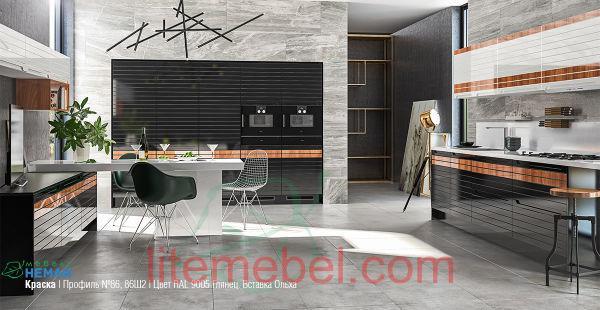Кухня с фасадом Эмаль глянец Профиль 86