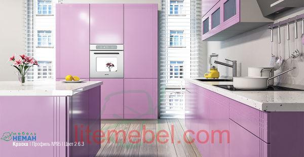 Кухня с крашенным фасадом Профиль 95, цвет 2.6.3 матовый