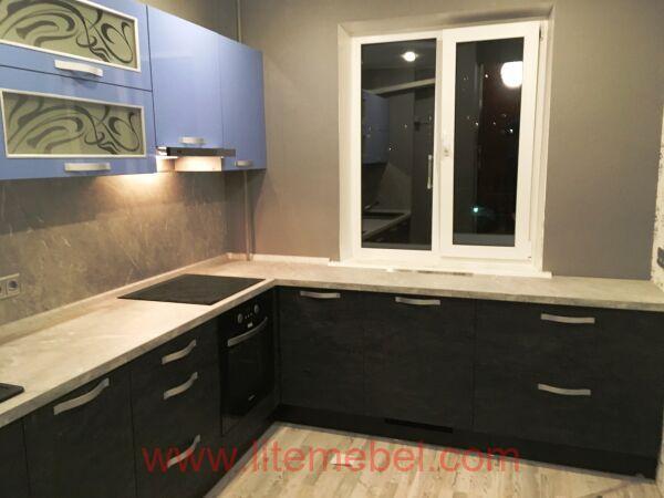 Кухня с пластиковыми фасадами, Проект № 3259
