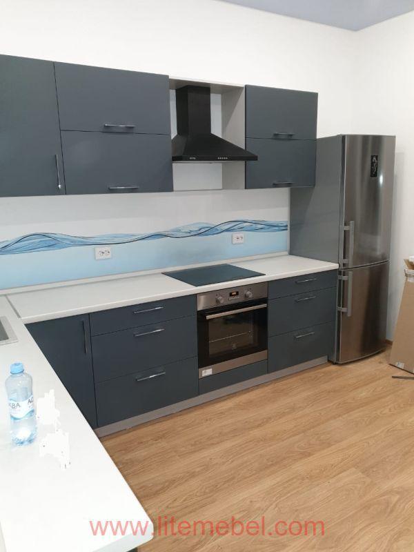 Кухня с фасадами Пластик Феникс (Fenix matt), Проект №3008